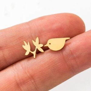 Bird Branch Leaves Stainless Steel Stud Earrings
